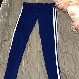 3 stripe blue leggings